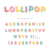 Lollipop candy glossy font design. Colorful ABC letters and numbers. Striped sweets for girls. Vector