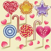 Sweet design element lollipop candy icon set.   Illustrator 10 eps, contains transparency effects for glossy. Files include: Illustrator CS5,SVG 1.1, pdf 1.5, JPEG 300 dpi, organized by layers, easy to edit.