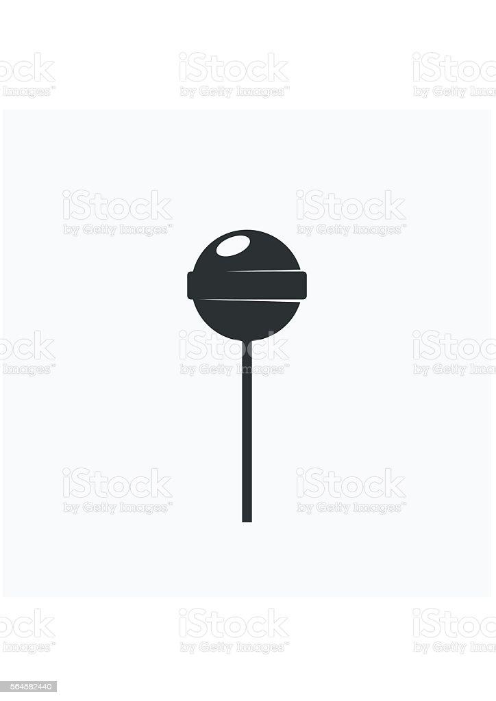Lollipop Icon black. Sweet food sugar candy dessert. vector art illustration