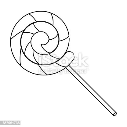 Lollipop Icon In Outline Style Isolated On White