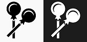 istock Lollipop Icon on Black and White Vector Backgrounds 811950426