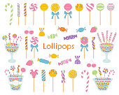 Lollipop set vector hand drawn doodle illustration. Different kinds of colorful sweets, candies, lollipops, sweetmeats, glass candy jars, isolated on white background.