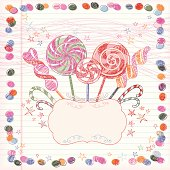 Lollipops Background  with copy space (Square). Doodles. Vector.