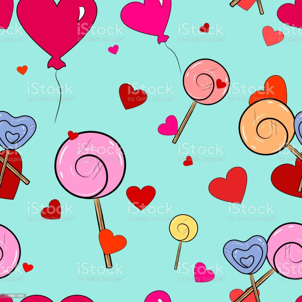 Lollipops, balloons and hearts Seamless Pattern. Love background....