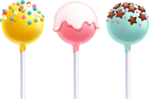stockillustraties, clipart, cartoons en iconen met lolly cake pops instellen vectorillustratie - suikerglazuur