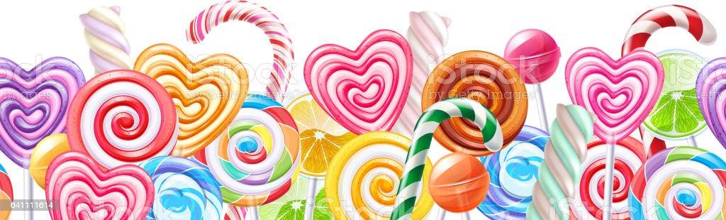 Sucettes bonbons arrière-plan de bordure. Bonbons durs sur bâton - Illustration vectorielle