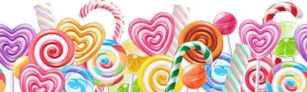 Lollipops candy border background. Hard candies on stick Lollipops candy border. Hard candies on stick. Seamless horizontal background. candy borders stock illustrations