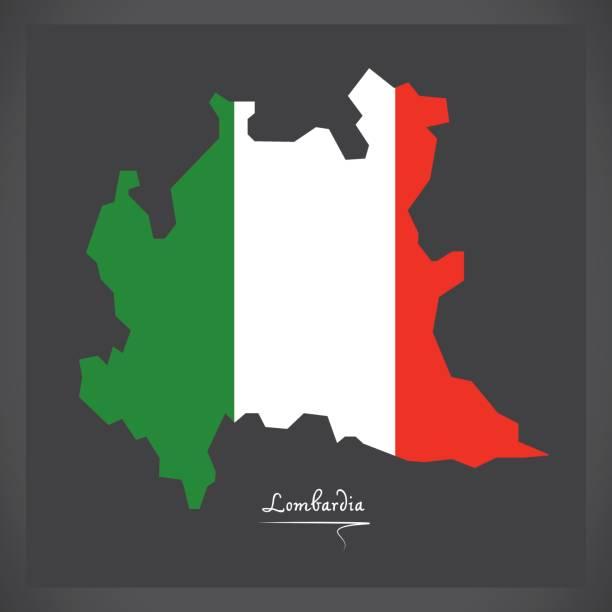 lombardia map with italian national flag illustration - ломбардия stock illustrations