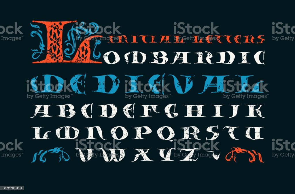Lombardic Medieval Capital Font Stock Vector Art & More