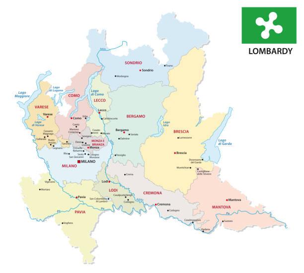 stockillustraties, clipart, cartoons en iconen met lombardije administratieve en politieke kaart met vlag - como italië
