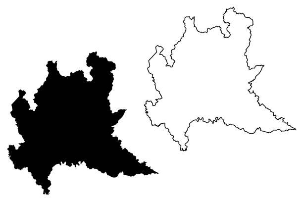 вектор карты ломбардии - ломбардия stock illustrations