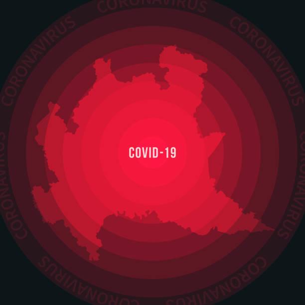 illustrazioni stock, clip art, cartoni animati e icone di tendenza di lombardy map with the spread of covid-19. coronavirus outbreak - lombardia