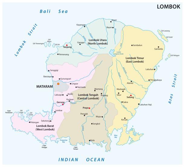 lombok administrative und politische karte - denpasar stock-grafiken, -clipart, -cartoons und -symbole