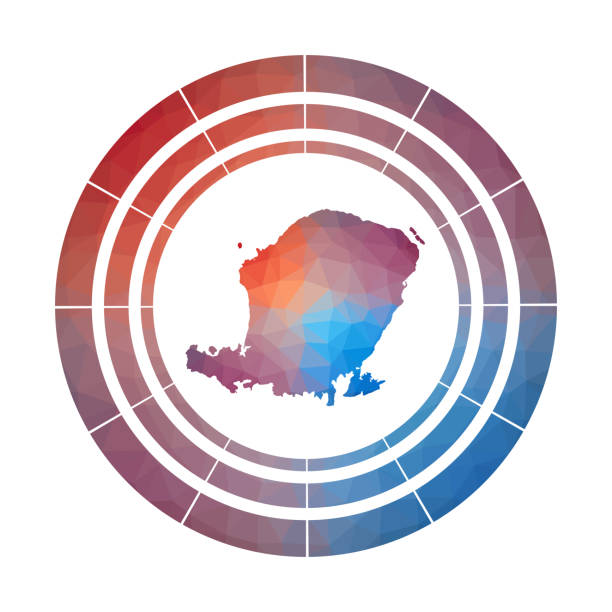 Lombok badge. Lombok badge. Bright gradient logo of island in low poly style. Multicolored Lombok rounded sign with map in geometric style for your infographics. lagbok stock illustrations