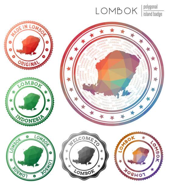 Lombok badge. Lombok badge. Colorful polygonal island symbol. Multicolored geometric Lombok logos set. Vector illustration. lagbok stock illustrations