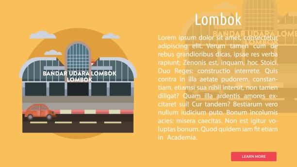 Lombok City of Indonesia Conceptual Design Set of great banner flat design illustration concepts for city, indonesia, monument, building and much more. lagbok stock illustrations