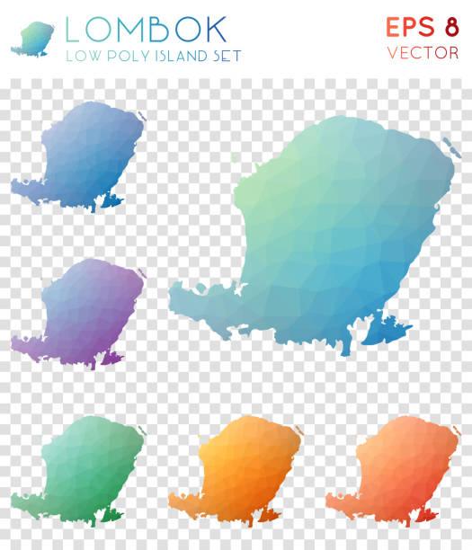 Lombok geometric polygonal maps, mosaic style island collection. Lombok geometric polygonal maps, mosaic style island collection. Charming low poly style, modern design. Lombok polygonal maps for infographics or presentation. lagbok stock illustrations