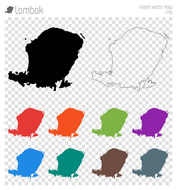 Lombok high detailed map. Lombok high detailed map. Island silhouette icon. Isolated Lombok black map outline. Vector illustration. lagbok stock illustrations