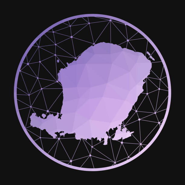 Lombok icon. Lombok icon. Vector polygonal map of the island. Lombok icon in geometric style. The island map with purple low poly gradient on dark background. lagbok stock illustrations