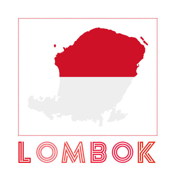 Lombok Logo. Map of Lombok with island name and flag. Lombok Logo. Map of Lombok with island name and flag. Powerful vector illustration. lagbok stock illustrations
