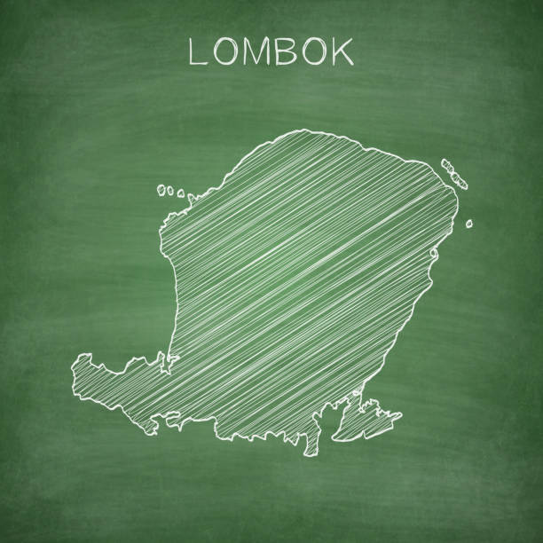 Lombok map drawn on chalkboard - Blackboard Map of Lombok drawn in chalk on a green chalkboard with chalk traces. Vector Illustration (EPS10, well layered and grouped). Easy to edit, manipulate, resize or colorize. lagbok stock illustrations