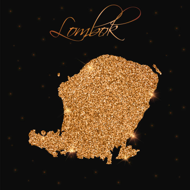 Lombok map filled with golden glitter. Lombok map filled with golden glitter. Luxurious design element, vector illustration. lagbok stock illustrations
