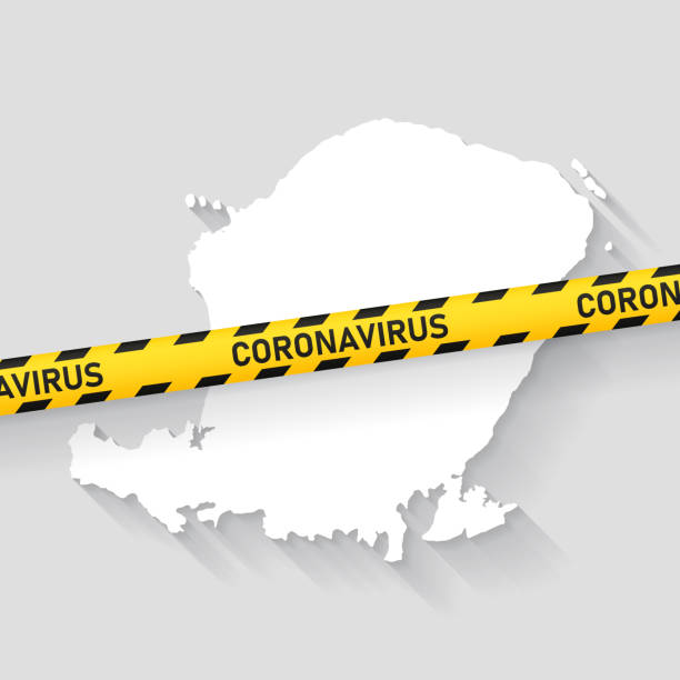 Lombok map with Coronavirus caution tape. Covid-19 outbreak Map of Lombok with a coronavirus warning tape (COVID-19, 2019-nCoV) isolated on a gray background. The map is white with a long shadow effect and in a flat design style. Conceptual image: coronavirus outbreak on the territory, coronavirus detected, closing of borders, area under control, stop coronavirus, quarantined area, spread of the disease, virus alert, danger zone, confined space. Vector Illustration (EPS10, well layered and grouped). Easy to edit, manipulate, resize or colorize. lagbok stock illustrations