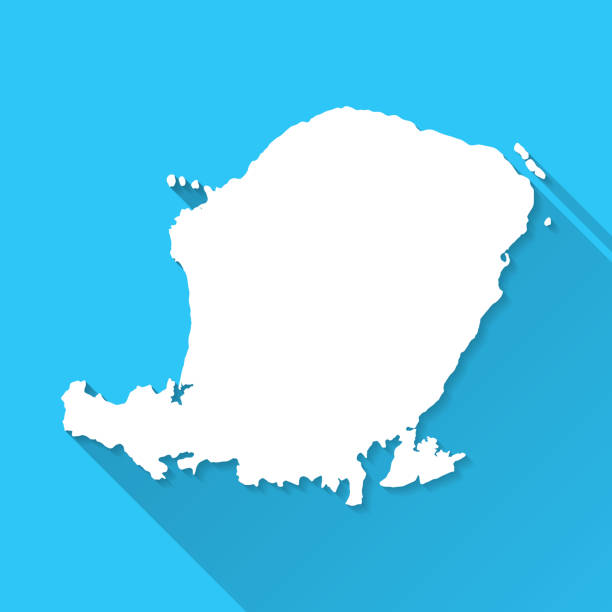 Lombok map with long shadow on blue background - Flat Design White map of Lombok isolated on a blue background with a long shadow effect and in a flat design style. Vector Illustration (EPS10, well layered and grouped). Easy to edit, manipulate, resize or colorize. lagbok stock illustrations