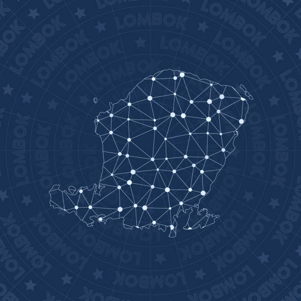 Lombok network, constellation style island map. Lombok network, constellation style island map. Breathtaking space style, modern design. Lombok network map for infographics or presentation. lagbok stock illustrations