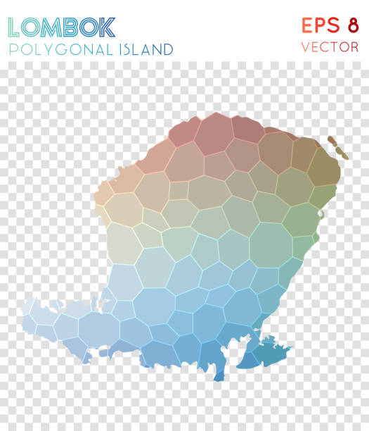 Lombok polygonal map, mosaic style island. Lombok polygonal map, mosaic style island. Charming low poly style, modern design. Lombok polygonal map for infographics or presentation. lagbok stock illustrations