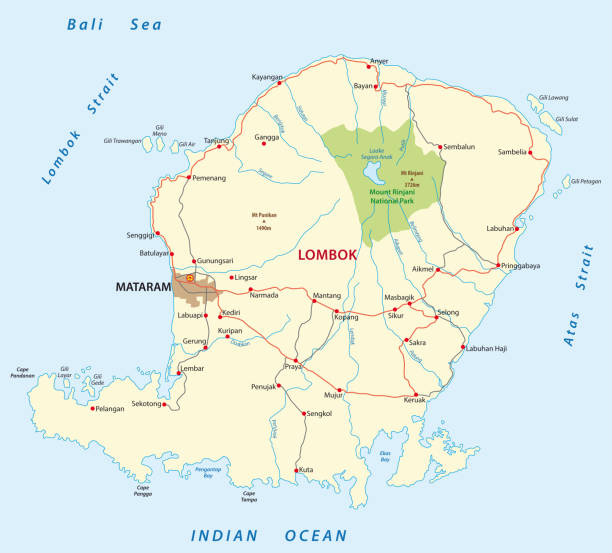 lombok road map lombok road vector map lagbok stock illustrations