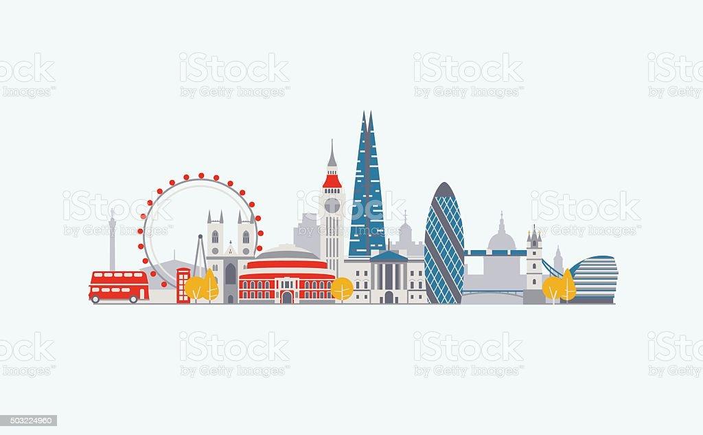 London abstract skyline vector art illustration