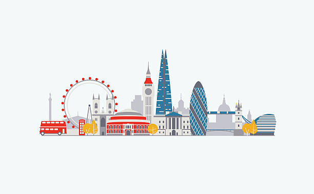 London abstract skyline Vector graphics, flat city illustration, eps 10 london stock illustrations