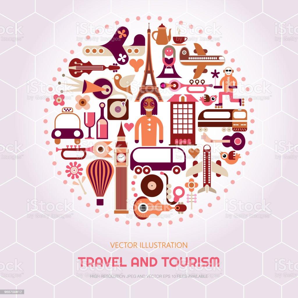 London and Paris Travel vector art illustration