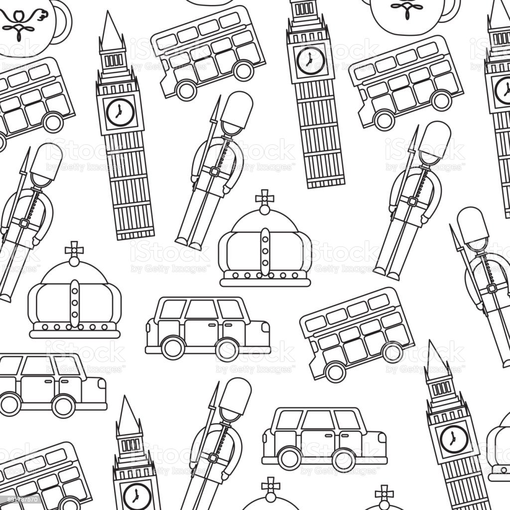 london and united kingdom city soldier crown taxi bus big ben icons vector art illustration