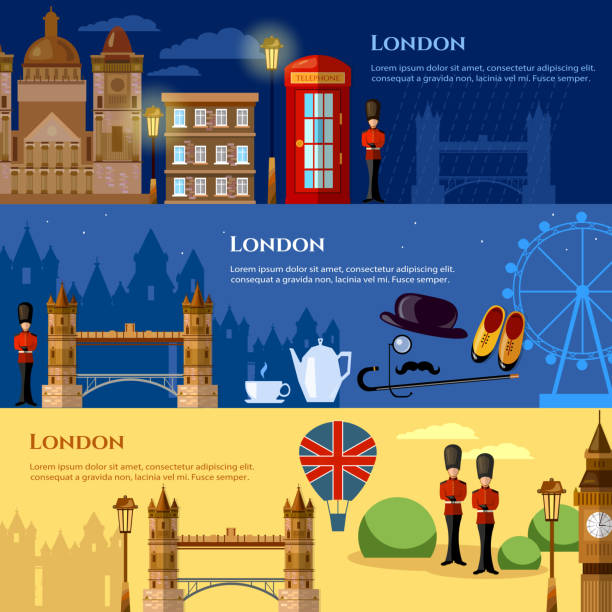 London attraction banner. Travel to United Kingdom Great Britain vector illustration vector art illustration