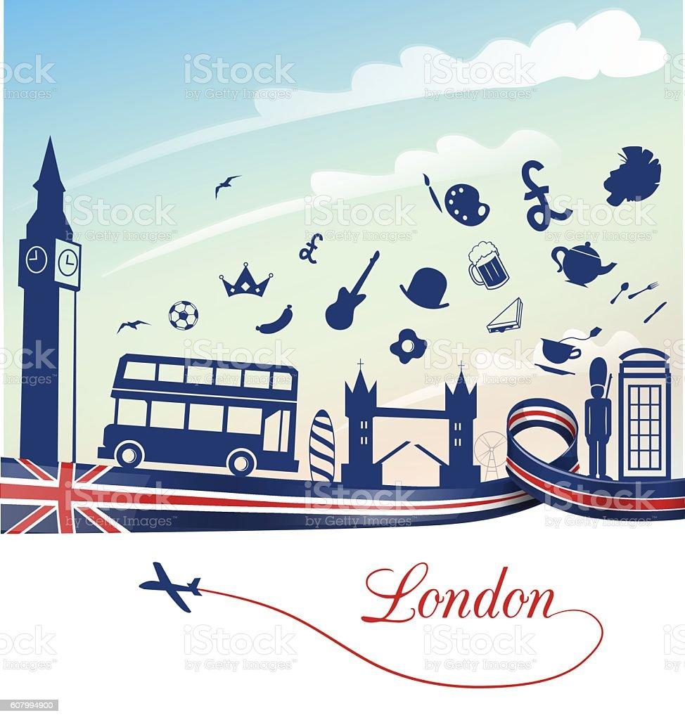 london background with  symbol set vector art illustration