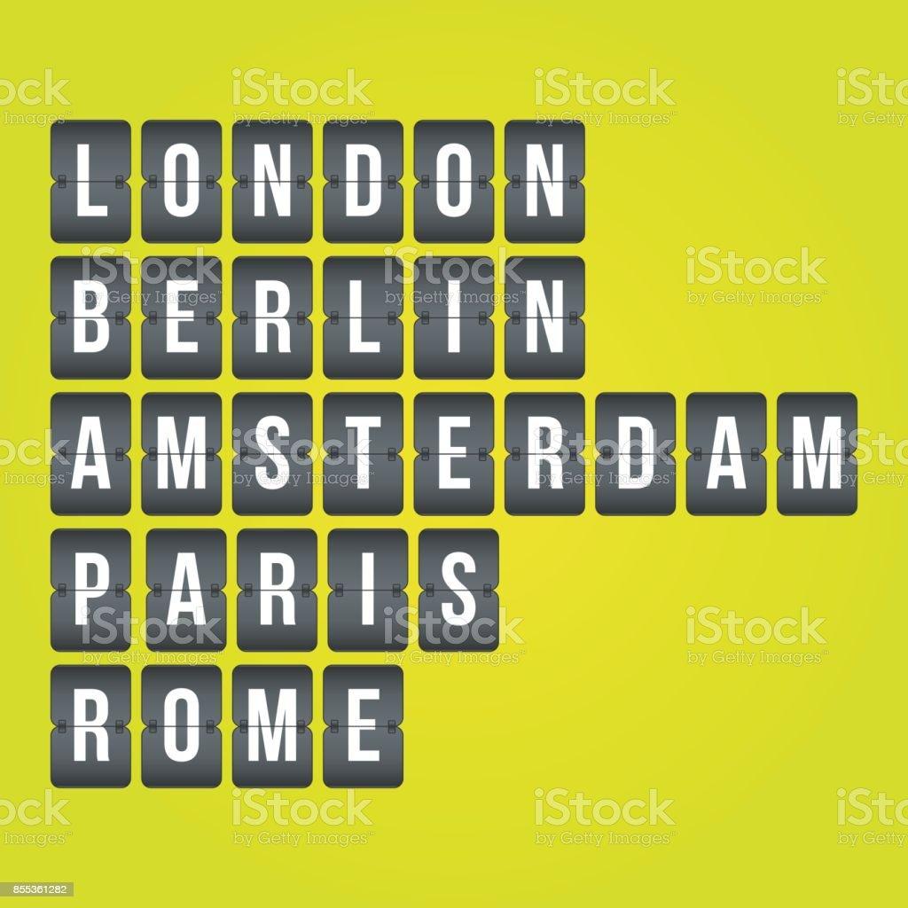 London, Berlin, Amsterdam, Paris, Rome scoreboard sign. Vector flip illustration symbols for travel, airport, business, report, project, infographic elements vector art illustration
