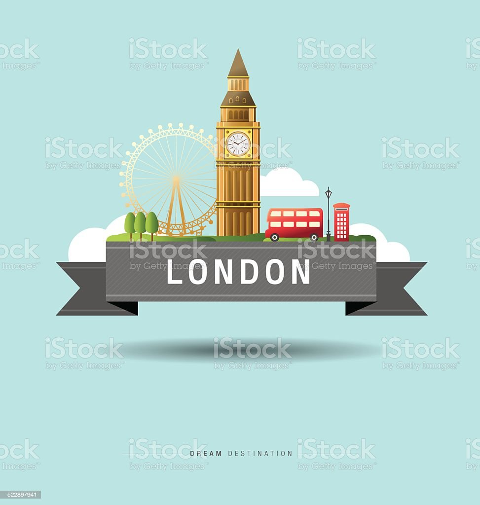 London, Big Ben, England, Landmark, travel vector art illustration