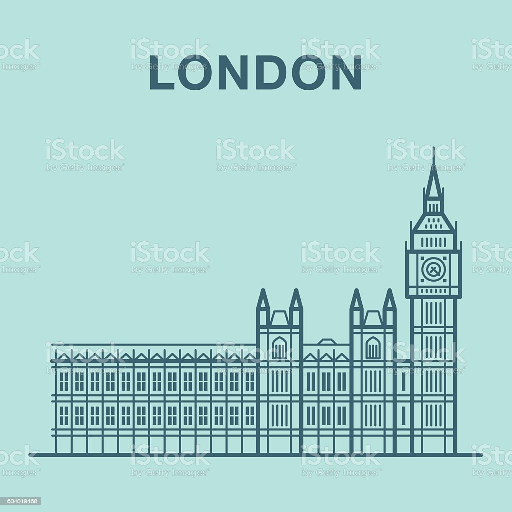 London Big Ben illustration made in line art style. vector art illustration