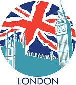 London big ben with union jack flag background