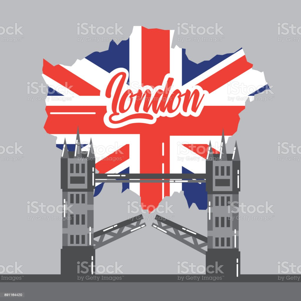 london bridge building map uk landmark vector art illustration