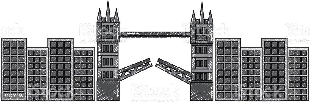 london bridge building urban city landmark vector art illustration