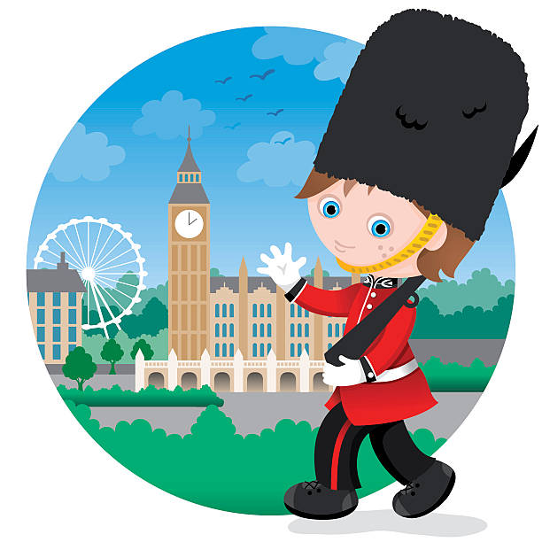 London British Royal guard boy vector art illustration