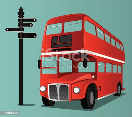 London Bus and Road Sign. Zip contains AI, Jpeg and PDF formats.