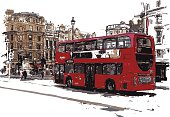 vector illustration of london bus in watercolor style. Each color is placed on a single level. You can easily change the colors or change details according to your needs.