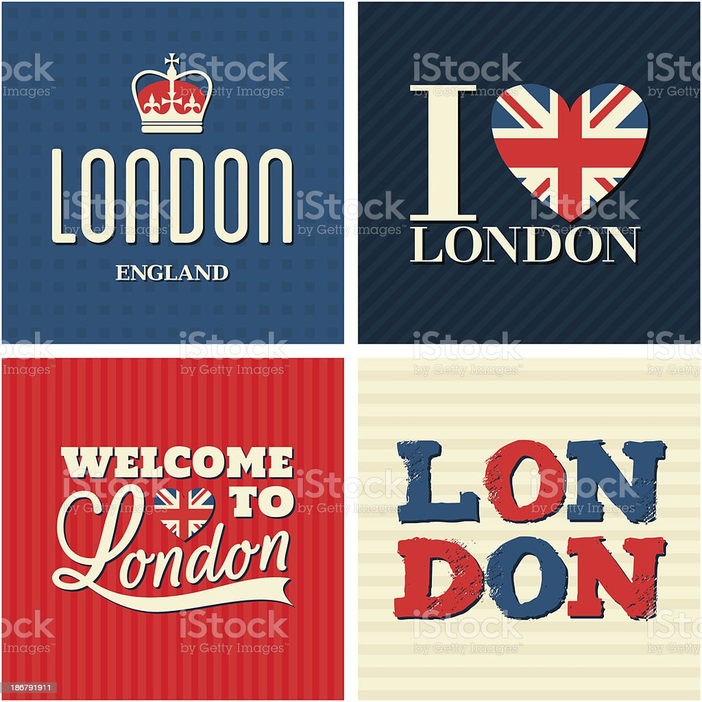 London Cards Collection royalty-free stock vector art