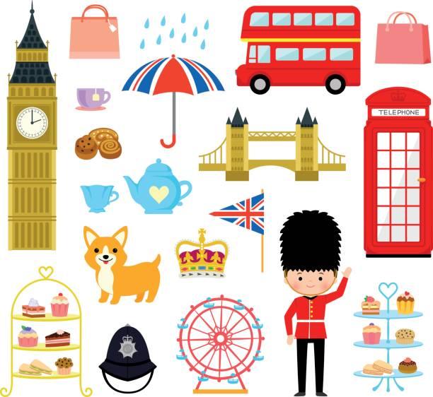 ilustraciones, imágenes clip art, dibujos animados e iconos de stock de londres - conjunto de dibujos animados - bandera británica