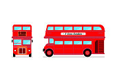 London city bus Front and Side view. Vector illustration