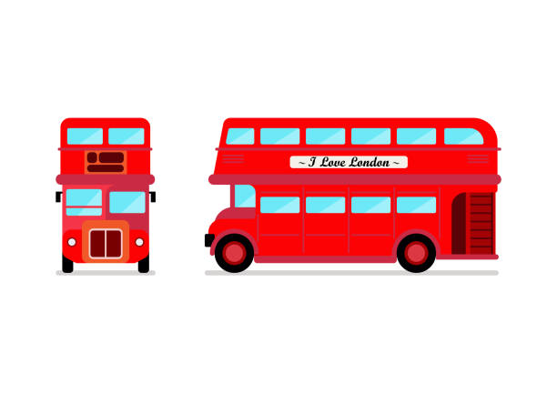 londoner stadtbus front und seitenblick - tour bus stock-grafiken, -clipart, -cartoons und -symbole